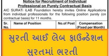 AIC SURATi iLAB Foundation Recruitment 2021