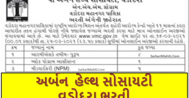 Urban Health Society Vadodara Recruitment 2021